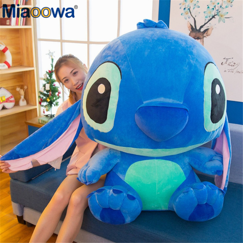1pc 80cm Super Giant Cute Anime Lilo And Stitch Plush Toy Baby Soft Pillow Kids Stuffed Doll Baby Toy For Children Gift cute 1pair 33cm funny stitch lovely plush car soft headrest vehicle bone rest neck pillow stuffed toy
