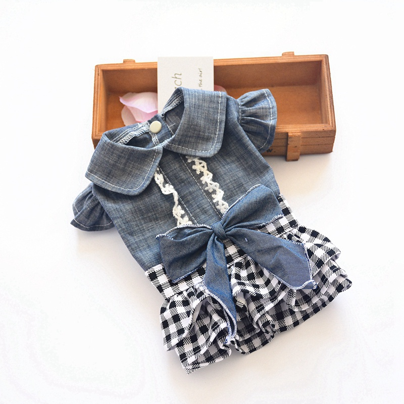 Spring Pet Dog Clothes Dog Denim Dress Jeans Skirt Small Dog Dress Puppy Clothes Chihuahua Yorkies Teddy Pet Clothing 4