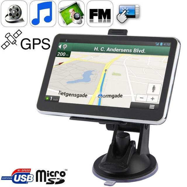 5.0 pulgadas TFT de pantalla Táctil Del Coche Navegador GPS con 4 GB de memoria y el Mapa de puerto Mini USB Touch Pen Voz Broadcast FM transmisor