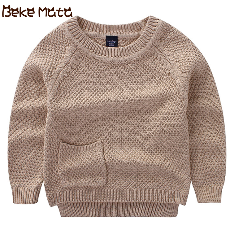 Baby Sweaters For Girls Autumn Winter 2018 New Toddler Boys Sweater With Pocket Kids Girl Clothes Solid O-neck Children Clothing children autumn and winter warm clothes boys and girls thick cashmere sweaters