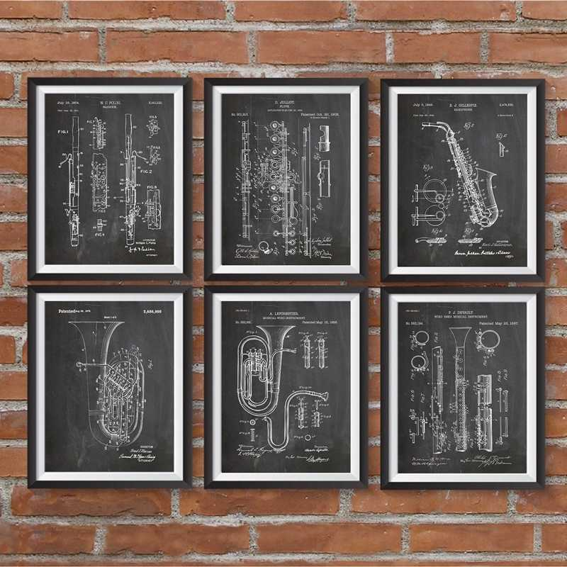 Music Art Posters Vintage Music Patent Prints Classical Music Instrument Wall Art Canvas Painting Wall Decor Musician Gifts
