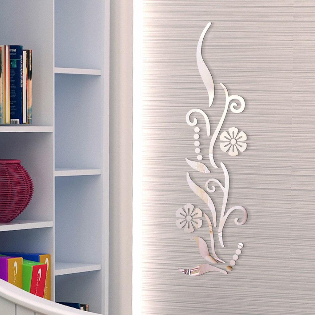 Flower Bathroom Acrylic Mirrored Decorative Sticker Wall