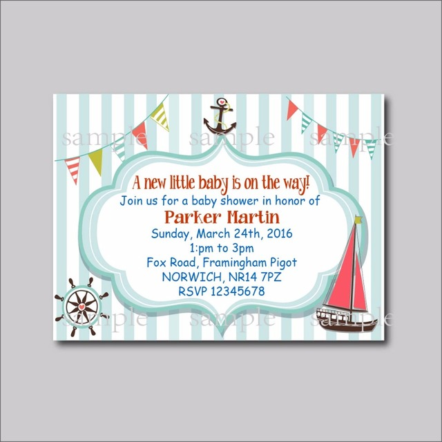 20 pcs lot custom nautical baby shower invites birthday invitations