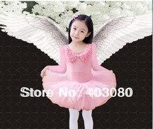 Pink 5-9 years Long sleeve Children ballet skirt,kid tutu dance dress,baby skirt(Present rose hair accessories/clip)