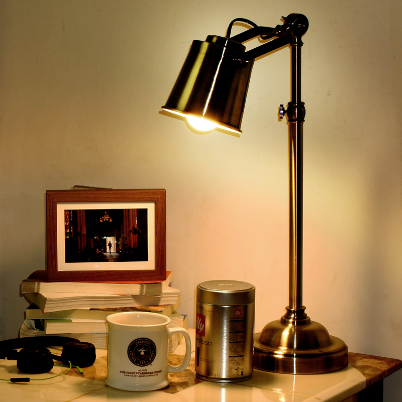 NEW lamp Loft American retro style bedroom bedside lamp iron copper industrial rotary wo ...