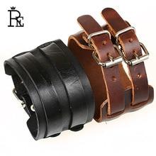 RE New 2017 Vintage Black Brown Blue Genuine Cowhide Wide Cuff Leather Bracelet For Men Jewelry Cool Punk Rock Bracelets Bangles стоимость