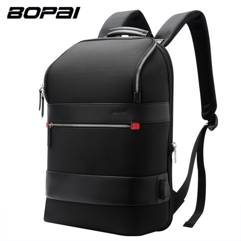 BOPAI Enlarge USB External Charge 15.6 Inch Laptop Backpack for Men Anti-theft Shoulders Waterproof School Teenage Backpack
