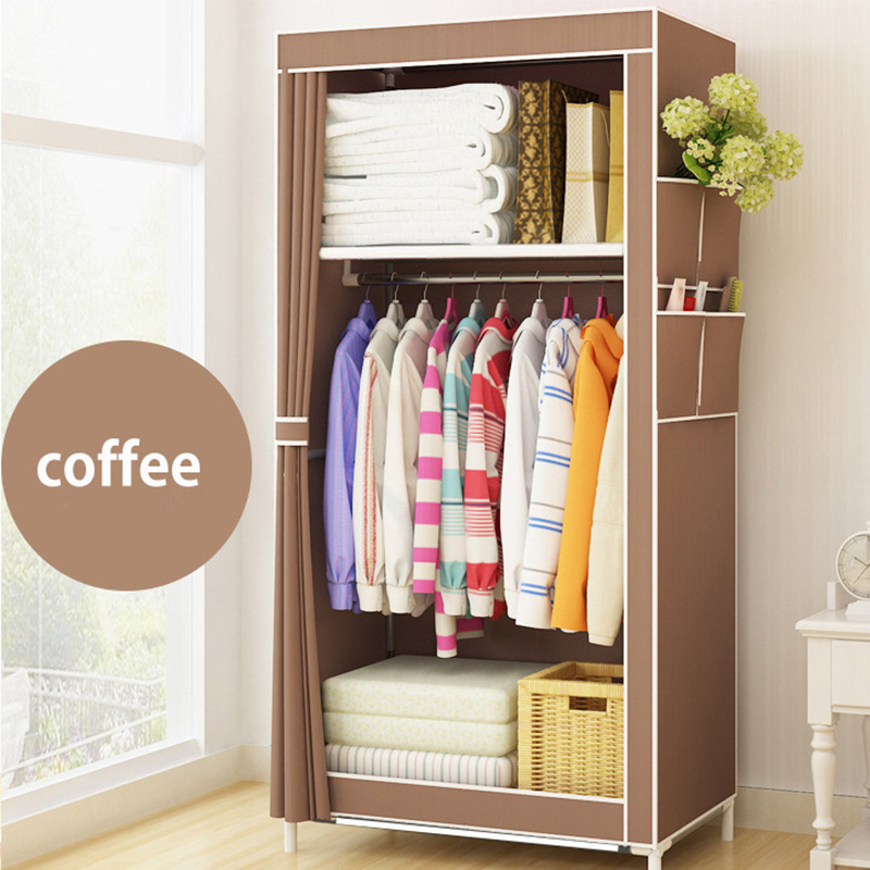Fashion Simple style small wardrobe Clothe storage cabinets Folding Non-woven closet steel pipe individual wardrobe for Bedroom simple fashion moistureproof sealing thick oxford fabric cloth wardrobe rustproof steel pipe closet 133d