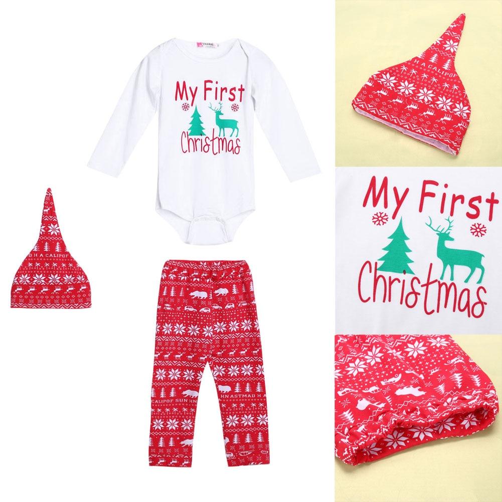 3pcs Cute Newborn Clothing Set Baby Boy Girls First Christmas ...