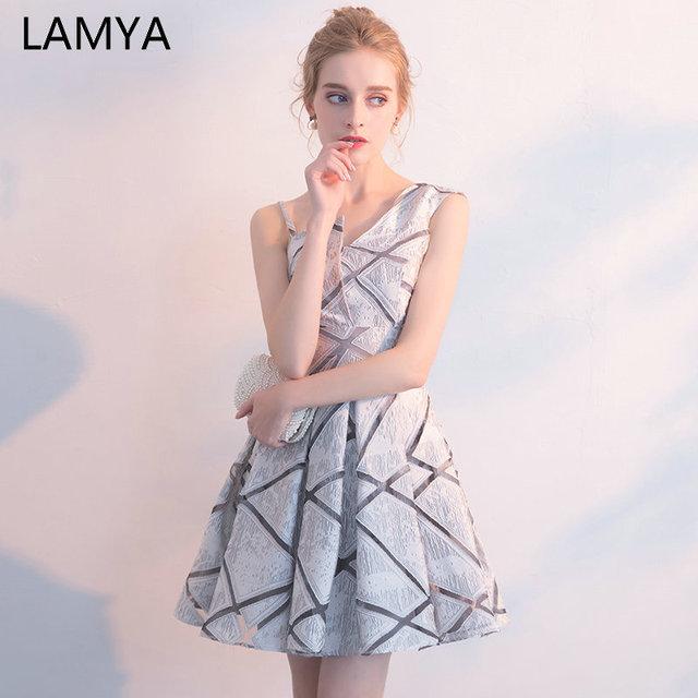 LAMYA 2019 Knee Length One Shoulder Prom Dresses Vintage Short A Line Evening Party Dress Satin Formal Gown Robe De Soiree