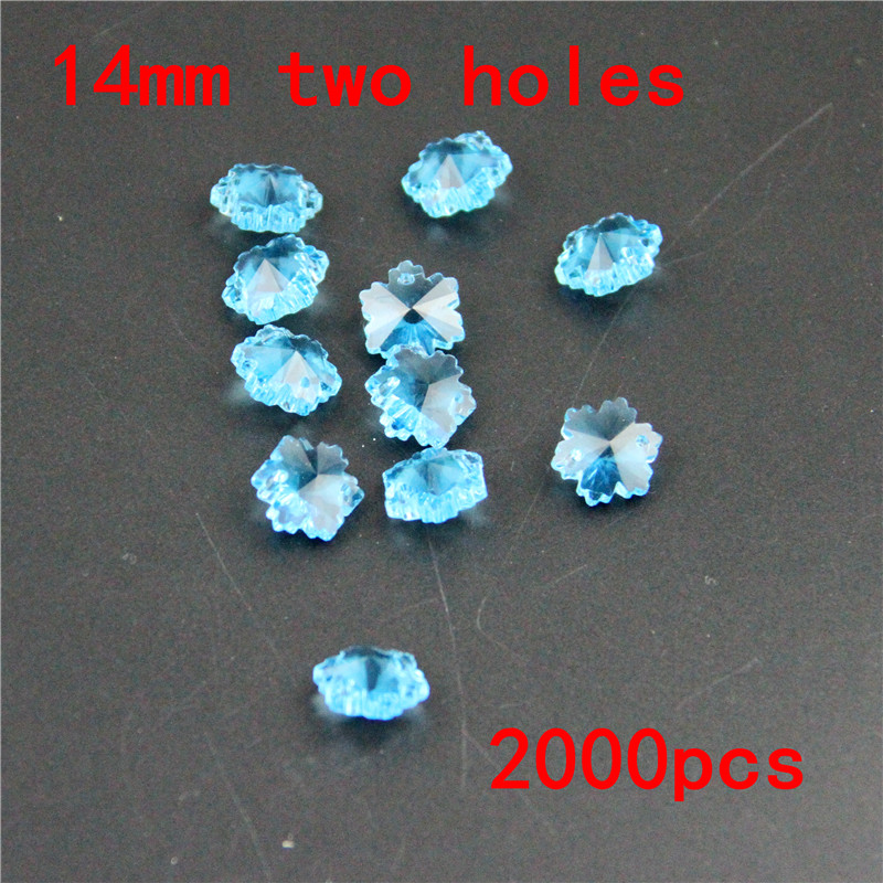 Crystal AAA 2000pcs/lot 2 Holes Aquamarine 14mm Glass Octagon Beads Crystal Chandelier Prism Parts Pendant For Strand Garlands