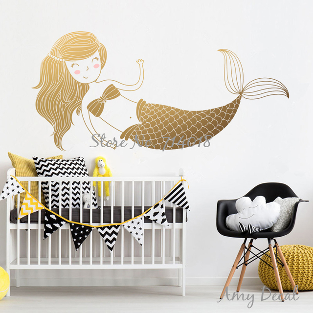 Gold Mermaid Wall Decal Wall Stickers For Kids Room Baby Nursery Wall Decor  Vinyl Wallpaper Art