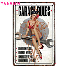 GARAGE RULES Neon Tin Sign Car Vintage Decor Mechanic Plate Repairing Plaques Lady Motor Poster for home wall art 20x30cm