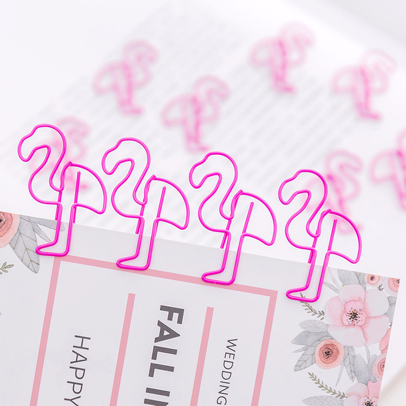 10 Pcs/set Girl Pink Brief Style Flamingo Metal Paper Clip Bookmark Stationery School Office Supply Escolar Papelaria