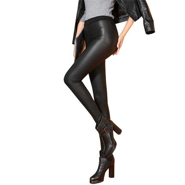 Зима Высокое Качество Mujer Кожаные Леггинсы Теплые Legins PU Хлопок Pantalon Femme Одежда Сгущает Тощий Эластичность Леггинсы K174