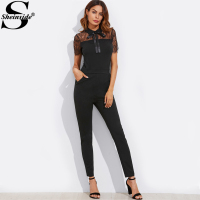 Sheinside Tie Neck Bow Contrast Lace Yoke Eyelash Trim Solid Jumpsuit 2017 Black Short Sleeve Mid