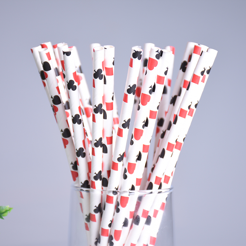 New 100pcs/lot Poker Pattern Paper Drinking Straws For Kids Birthday Wedding Christmas Paper Straws Party Decor Baby Shower