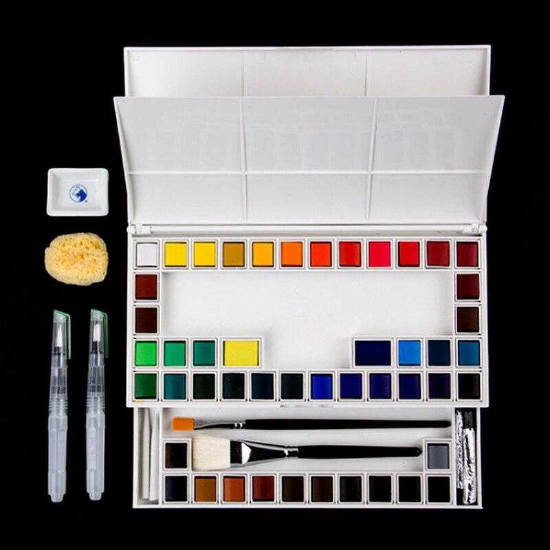 48 цветов, одноцветная Акварельная краска, художественная живопись, офисные школьные принадлежности, портативный набор цветов для рисовани