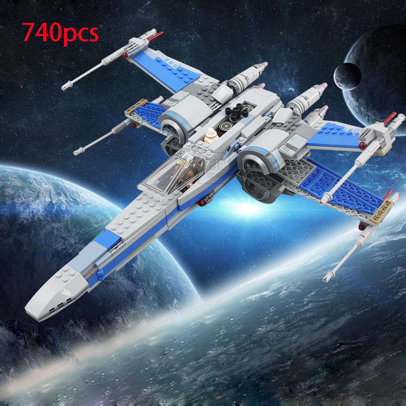 740pcs Star wars First Order Poe's X-wing Fighter model building blocks bricks X wing boys Toys with 75149 friend kid gift set star wars boys black