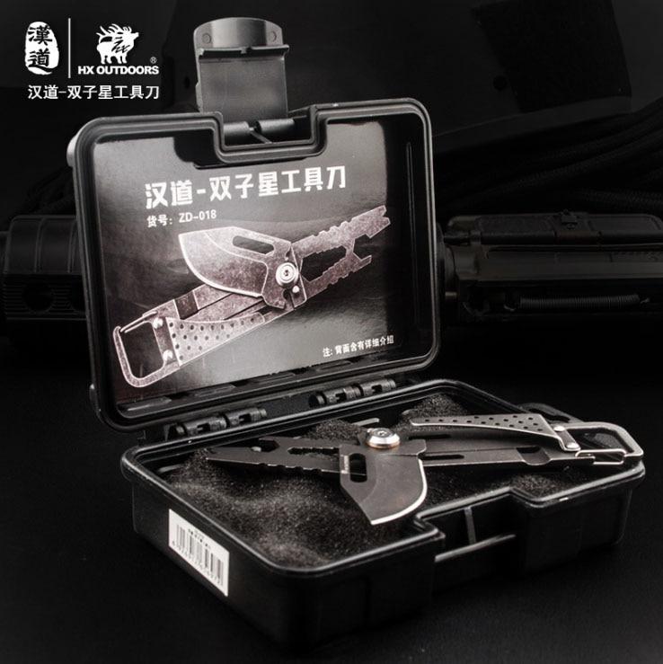 Купить с кэшбэком HX OUTDOORS Multi Funtional EDC Knife 5Cr15Mov Blade Camping Folding Knife Outdoor Survival Pocket Key Chains Knives Tools