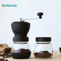 Hot Ceramic Millstone Manual Coffee Grinder For Home Office With 2 Glass Sealed Pots Portable Coffee