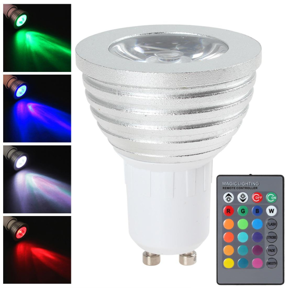 GU10 5W RGB LED Light Bulb 16 Colors Changing Energy Saving LED Bulb Lamp Home Holiday Lighting + Wireless IR Remote Controller agm rgb led bulb lamp night light 3w 10w e27 luminaria dimmer 16 colors changeable 24 keys remote for home holiday decoration