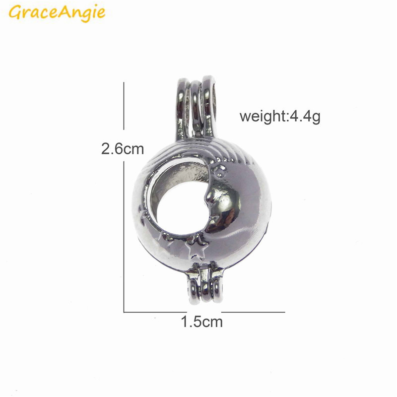 GraceAngie 2PCS Hollow Crescent Moon with Stars Openable Cage Locket Round Pendant Charm for Bead or Pearl DIY Necklace Findings