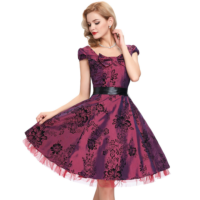 Womens Robe Vintage London palace Dresses 2017 Pin up Swing 50s flower print Princess Women Party vestidos Plus size clothing