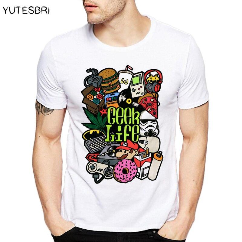 Brand Mens Tshirt Geek Life Super Mario Nintendo Printed T-shirt Funny Batman Starwars T Shirt Fashion White O-neck Tee Unisex