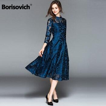 0d5a88eaf2 Borisovich casuales de las mujeres vestido largo nueva marca de Otoño de  2018 de estilo chino Vintage de gran oscilación elegante mujer vestidos de  encaje ...