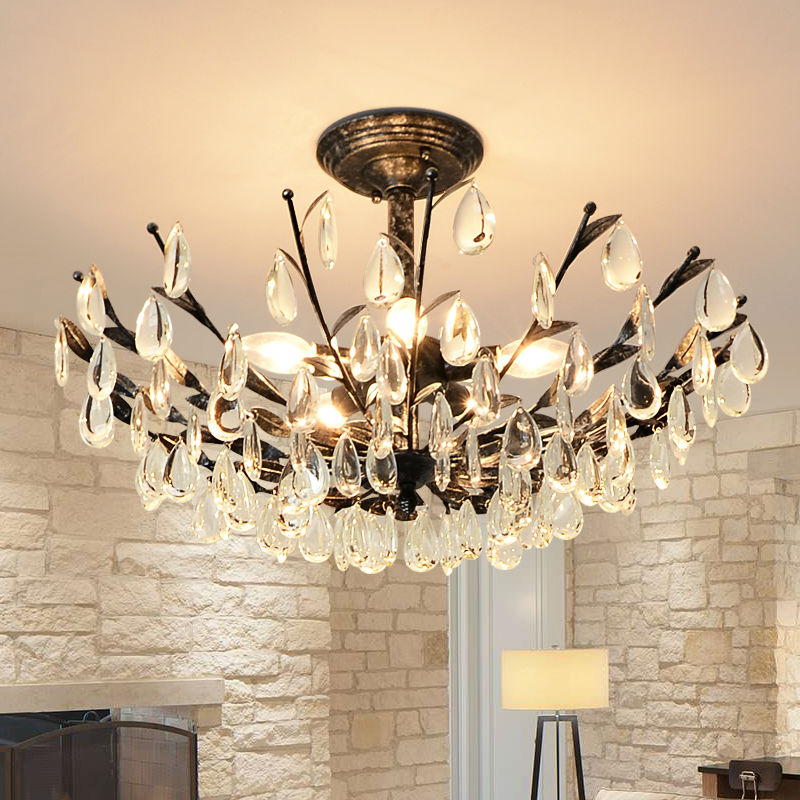crystal ceiling lights round tree lamp with led bulbs retro iron lustre lamps for living room. Black Bedroom Furniture Sets. Home Design Ideas