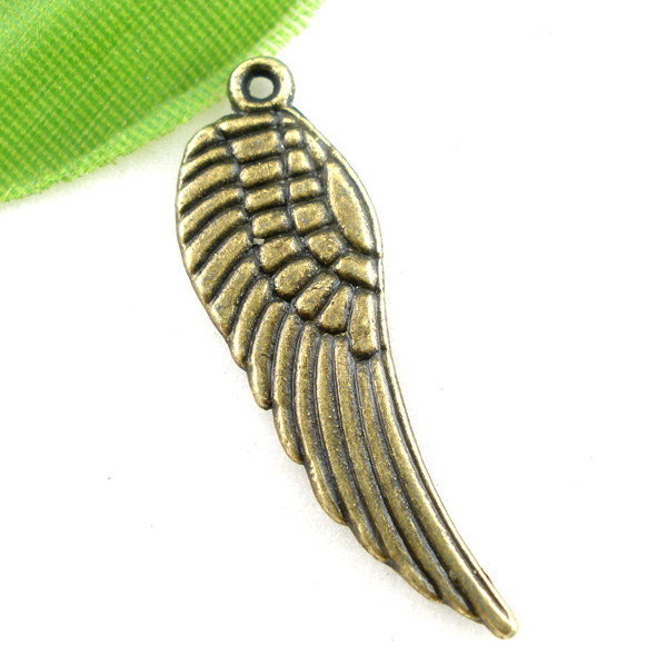 DoreenBeads Zinc metal alloy Charm Pendants Wing Antique Bronze Stripe Pattern 30mm(1 1/8)x 9mm(3/8),10 PCs image