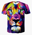 Unisex 3D Tiger Lion Printed Colorful Feather T shirts Men Women Short Sleeve Novelty Tee Shirt mens  tshirts