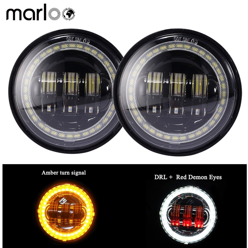 Marloo Harley Led Fog Light 4 1/2 4.5 Inch White DRL Amber Turn Signal Halo Auxiliary Lamp For Harley Davidson Motorcycle 7 led white signal light for motorcycle