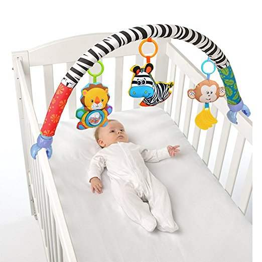 Baby Hanging Toys Stroller Bed Crib For Tots Cots Rattles Seat Cute Plush Stroller Mobile Gifts 88CM Zebra Rattles ...
