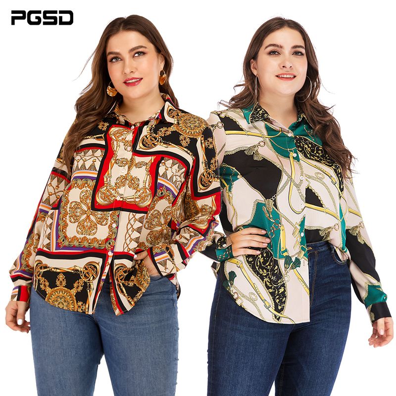 PGSD 2019 New Spring Summer Office Lady Big Size Women Clothes Casual Fashion Printing Long Sleeve Button Large Shirt Female 5XL