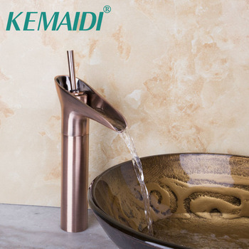 KEMAIDI Bathroom Antique Copper Solid Brass Ross Gold Singe Handle Basin Sink Bowl Mixer Deck Mount Faucet Tap Single Hand