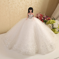 Doll + Dress / White Lace Rhinestone Bride Wedding Doll Flower Embroider Gown Decoration Outfit Clothing For Toy Barbie Doll
