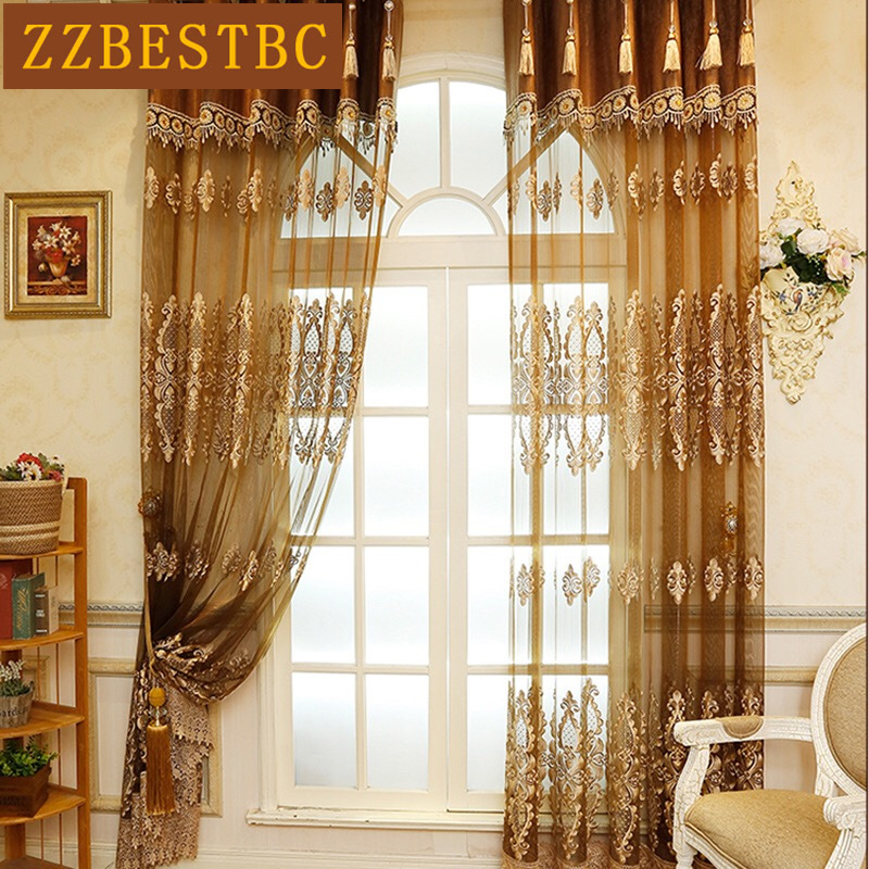 New European Luxury Lace Tulle Curtains For Living Room