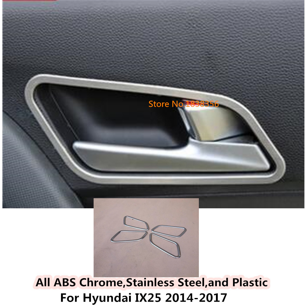 Car Detector Abs Chrome Outside External Front Head Triangle A Column Lamp Frame Trim 4pcs For Hyundai Ix25 2014 2015 2016 2017 Chromium Styling Auto Replacement Parts