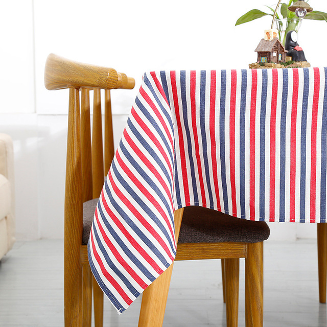 Modern Simplicity Fine Striped Tablecloth Blue Red Black Colorful Flax Linen Table Cover Hotel Restaurant Home Suitable Decor