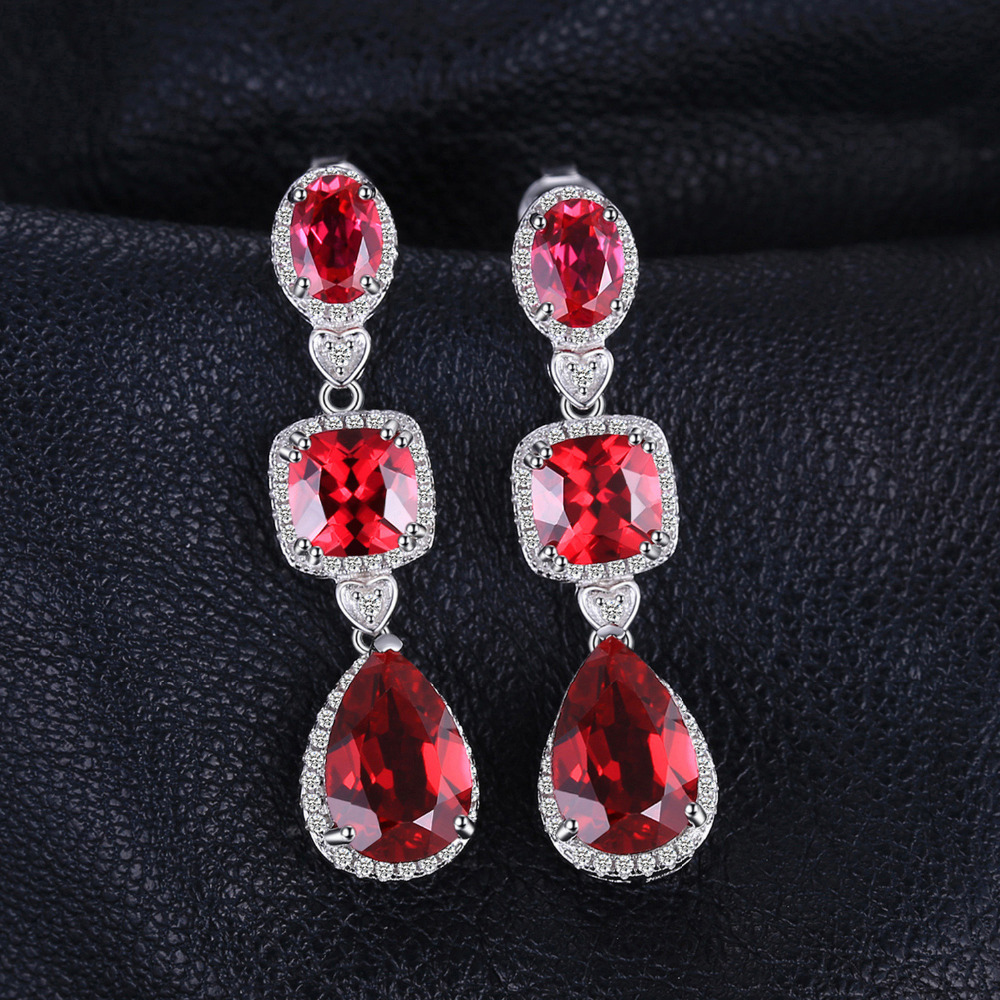product jieminglang stud for ruby jewelry artificial oval from clear diamond earrings red party cubic shape women zircon wedding exquisite