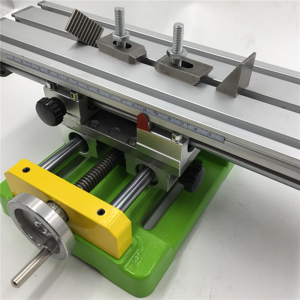 Mini Cross Working Table 350*100mm Professional Bench Vise Drill Worktable DIY Milling Drilling Machine X-Y Stroke 180MM/50MM
