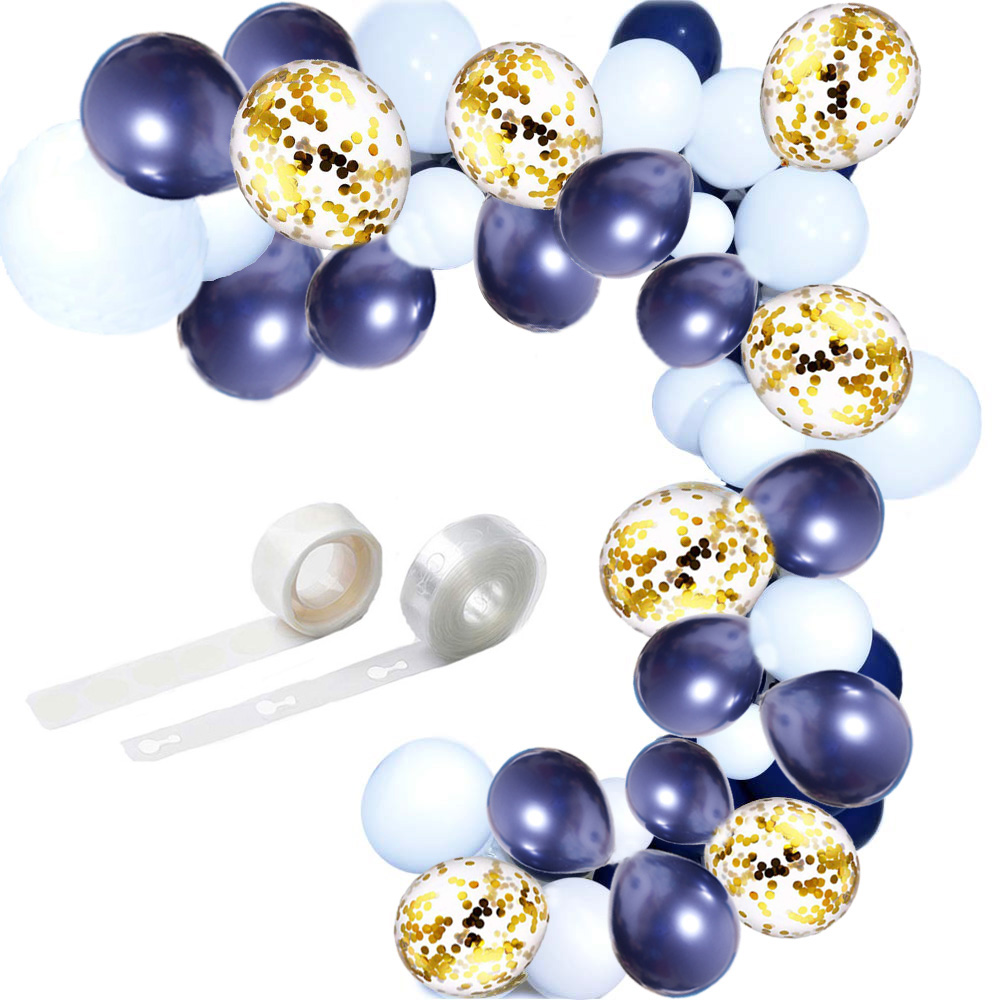 Balloon Arch Garland Kit 100 pcs 12 inch Navy Blue White Latex Balloons Gold Confetti Balloons for Boy Baby Shower Graduation