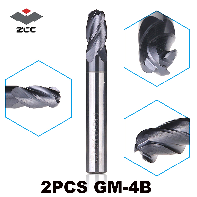 2pcs/lot ZCCCT GM-4B Solid Tungsten Steel 4 Flute Ball Nose Coated End Mill Cnc Milling Cutter For Metal Machining Profile HRC45