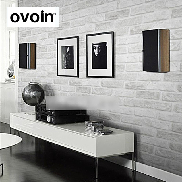 Vintage Rustikalen Grau Weiße Ziegel Tapete Rollen Schlafzimmer Esszimmer  Wohnzimmer Wand Abdeckt Moderne 3D Wand Papier