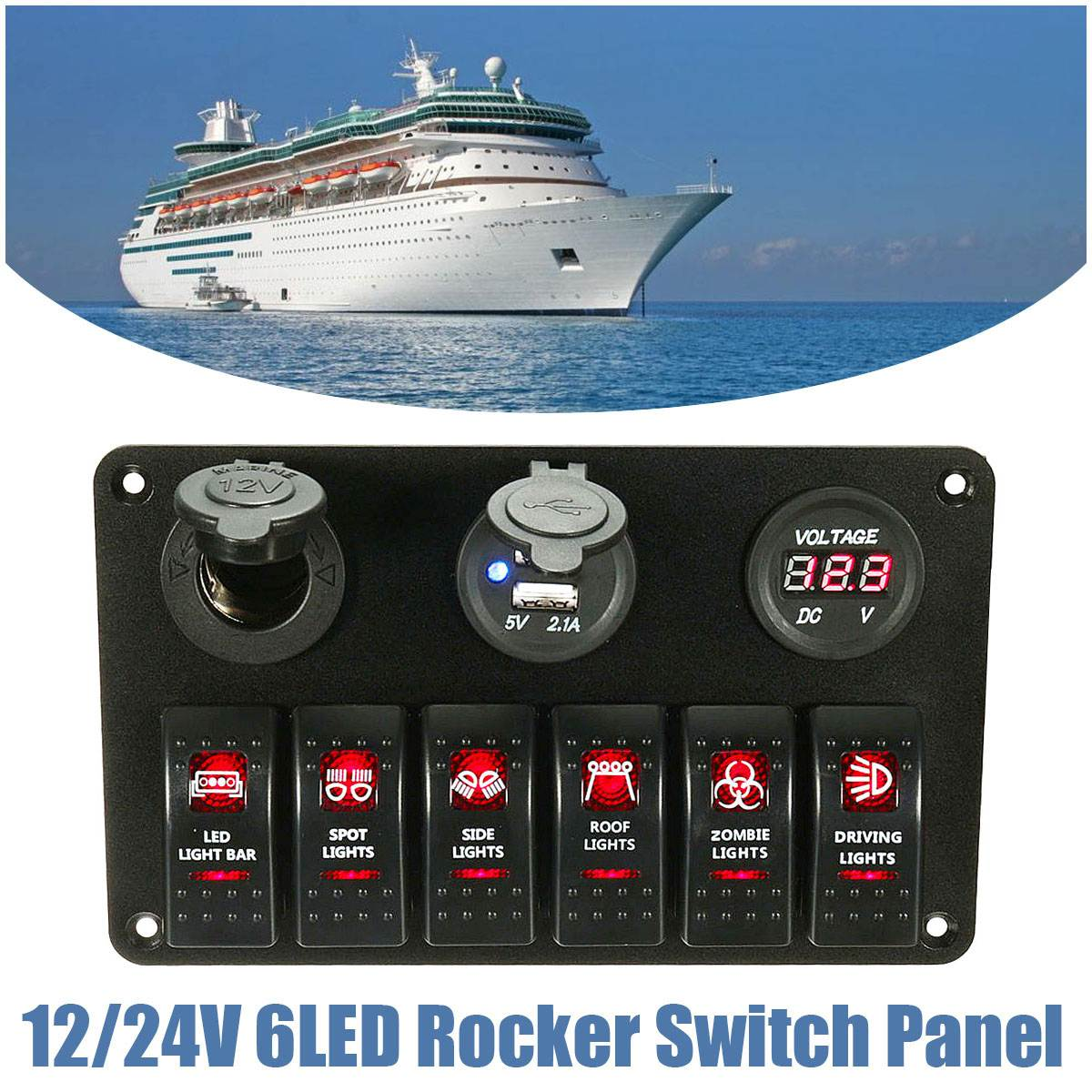 2 USB Socket 6 Gang Red LED Rocker Switch Cigarette Plug Voltage Panel Marine Boat RV 24v 12v red blue led boat switch panel switches waterproof car cigarette lighter socket rv yacht marine boating accessories