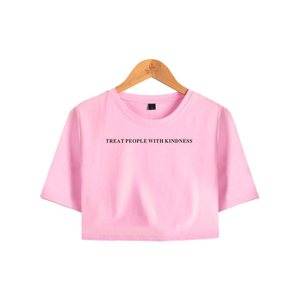 BTS Crop Tops Hip Hop Short Sleeve Tshirt Harry Styles Harajuku Women Clothes 2018 Kpop Print Casual Plus Size A10161-A10163