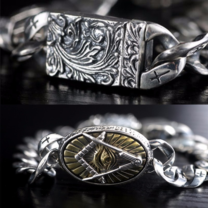 ZABRA Genuine 925 Silver Eye Of Horus მამაკაცის - მოდის სამკაულები - ფოტო 3