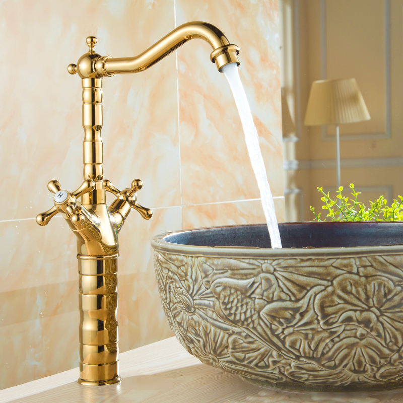 Brass dual holder bathroom basin faucet hot and cold, Antique copper mixer water tap, Retro kitchen sink basin faucet golden single handle bathroom faucet basin carving tap swivel sink water tap antique brass hot and cold kitchen mixer faucet with hose